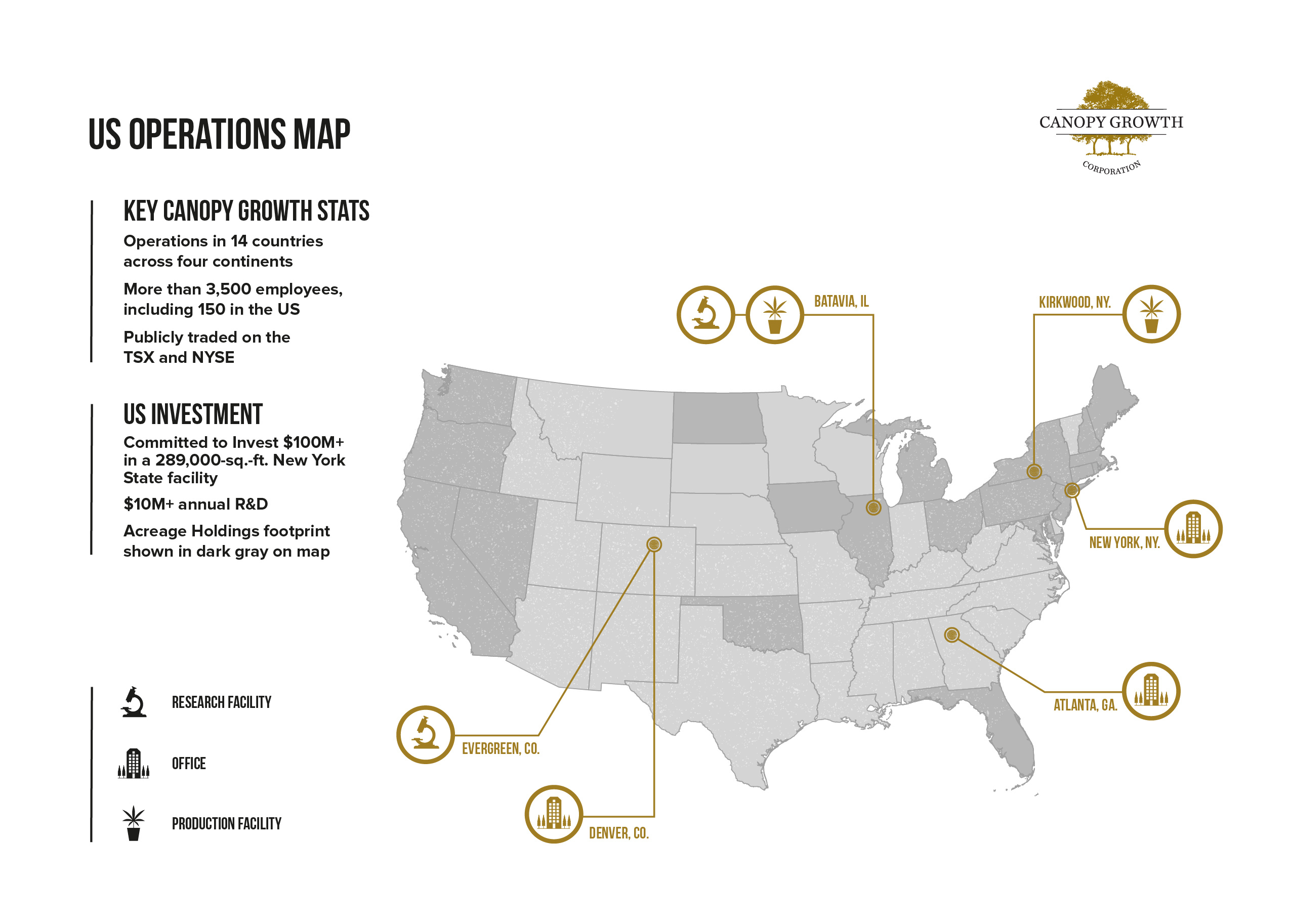 Canopy Growth US Operations Map