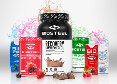 Biosteel products in a gym locker room