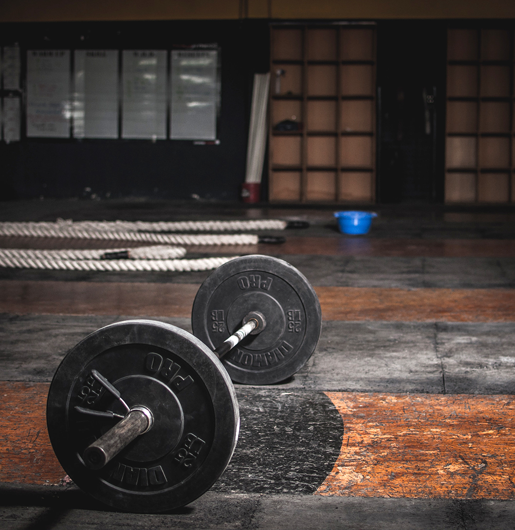 Weights on the ground of a gym